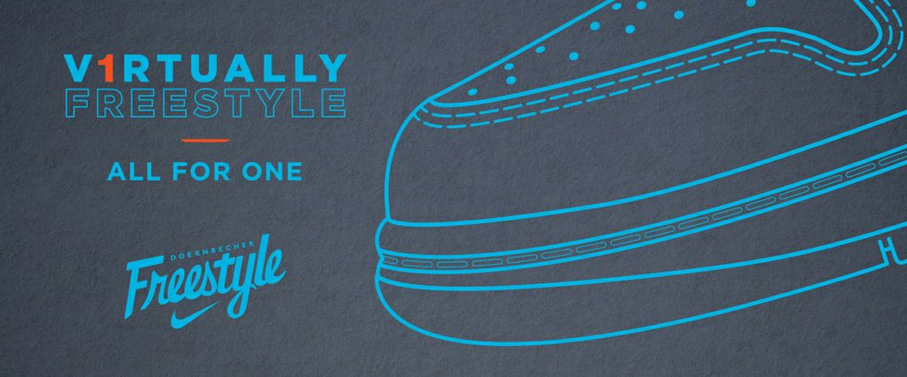 Virtually Freestyle event logo with graphic outline of a sneaker.