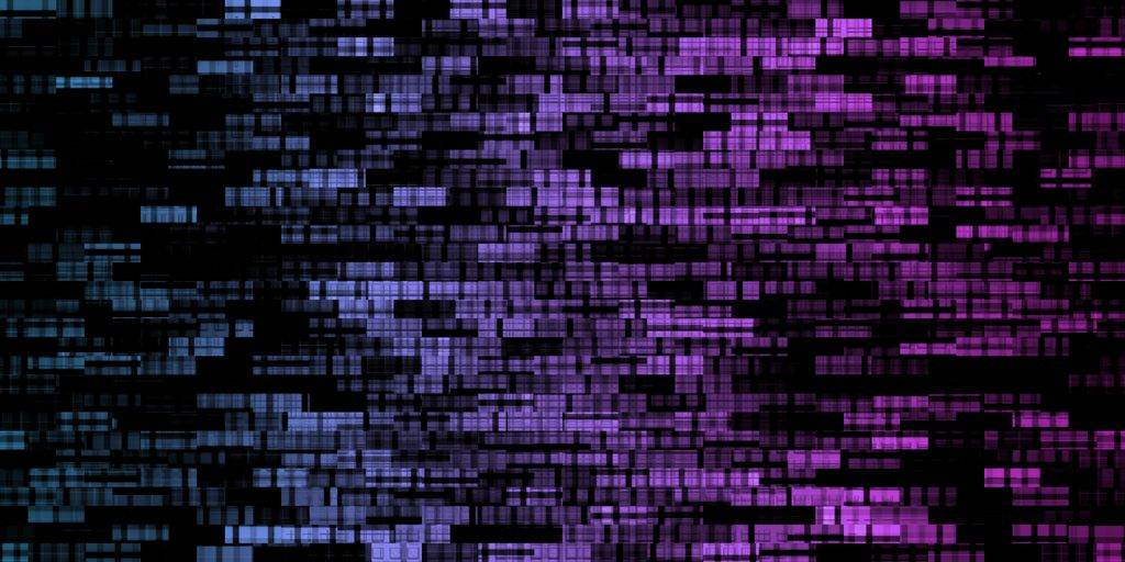 image of a sequenced genome, many short dashes rendered in blues and purples on a black background