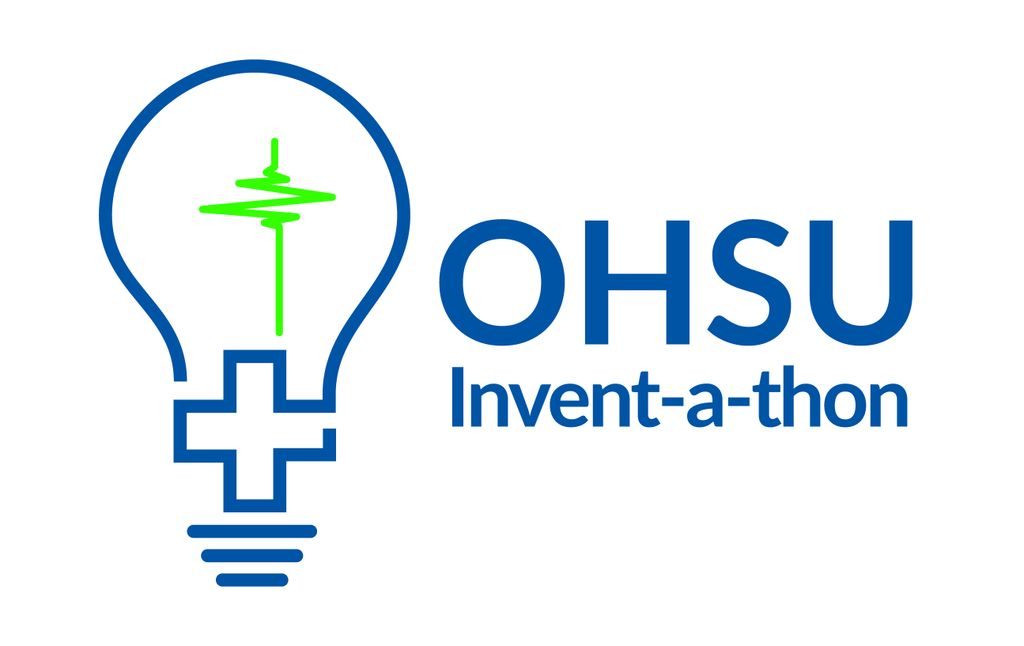 Logo for OHSU's Invent-a-thon, featuring a digital line drawing of a lightbulb with embedded medical imagery (first aid cross in the base of the bulb, vertical heart monitor reading as the filament)