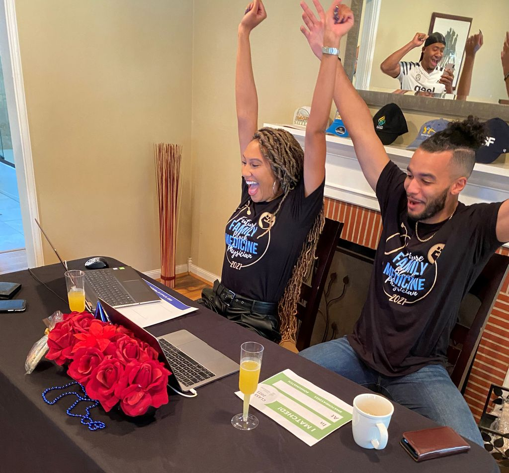 Two medical students who are partners pump their fists in celebration as they learn that they matched together to the Family Medicine residency at UCSF.