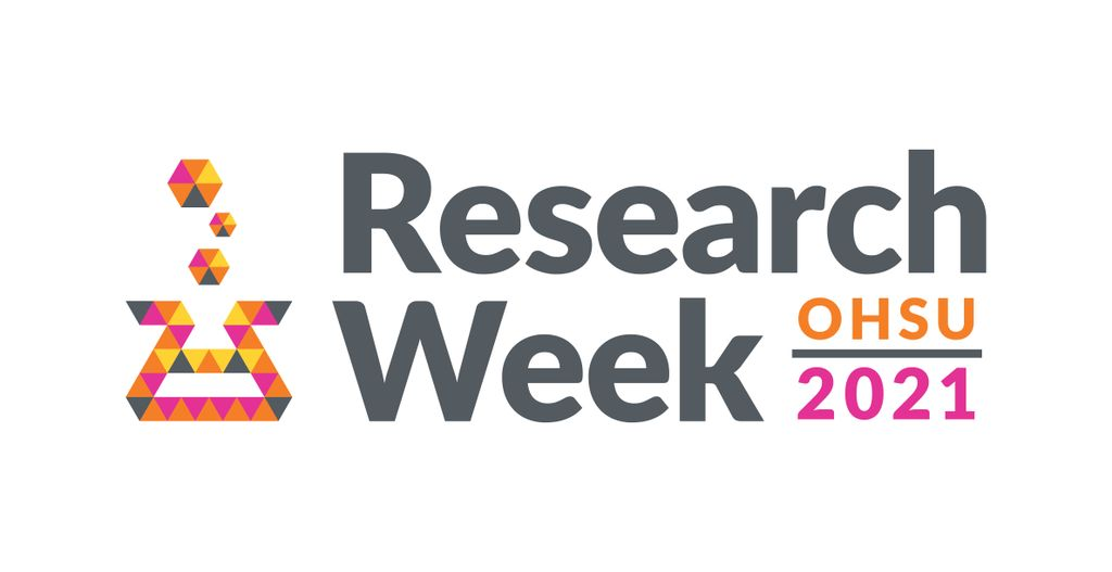 OHSU Research Week 2021 logo, in 4 colors (orange, magenta, yellow, dark grey); it shows a stylized steaming test tube made of small equilateral triangles