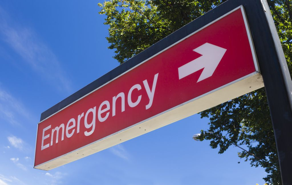 Emergency room sign at hospital shown with blue sky and a tree in the background