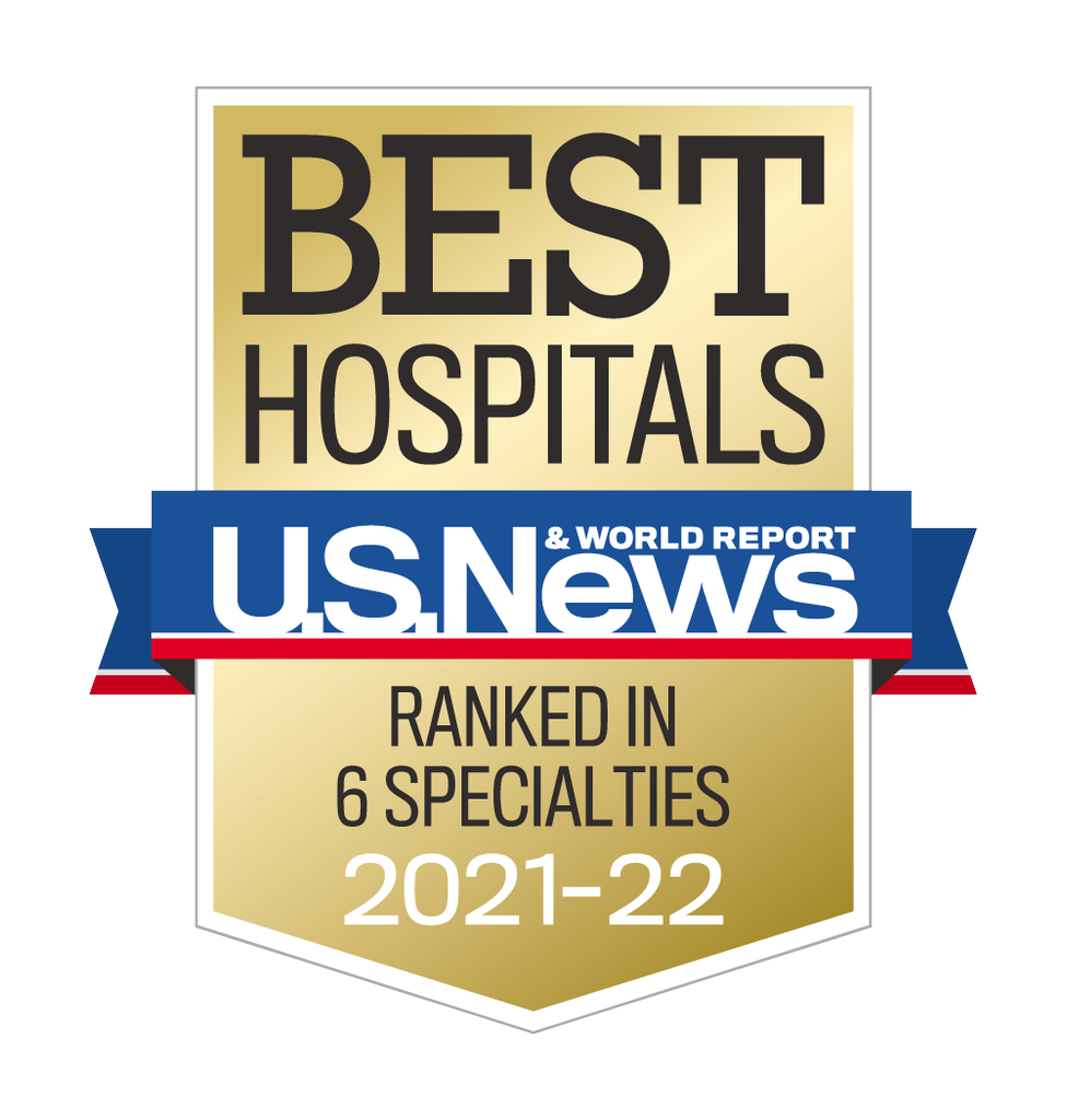 """USNWR adult rankings badge: a gold placket reads 'best hospitals, ranked in 6 specialties 2021-22'; a blue ribbon with a red stripe reads """"U.S.News&World Report"""""""