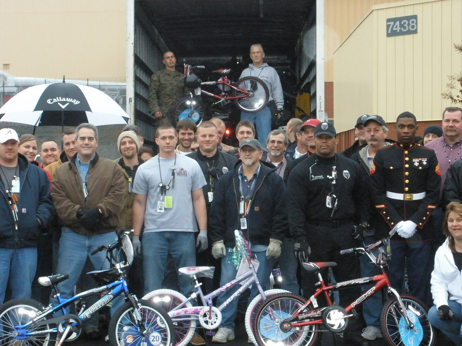 McGuire Nuclear Station employees with members of the U.S. Marine Corps for the site's annual Toys for Tots collection.