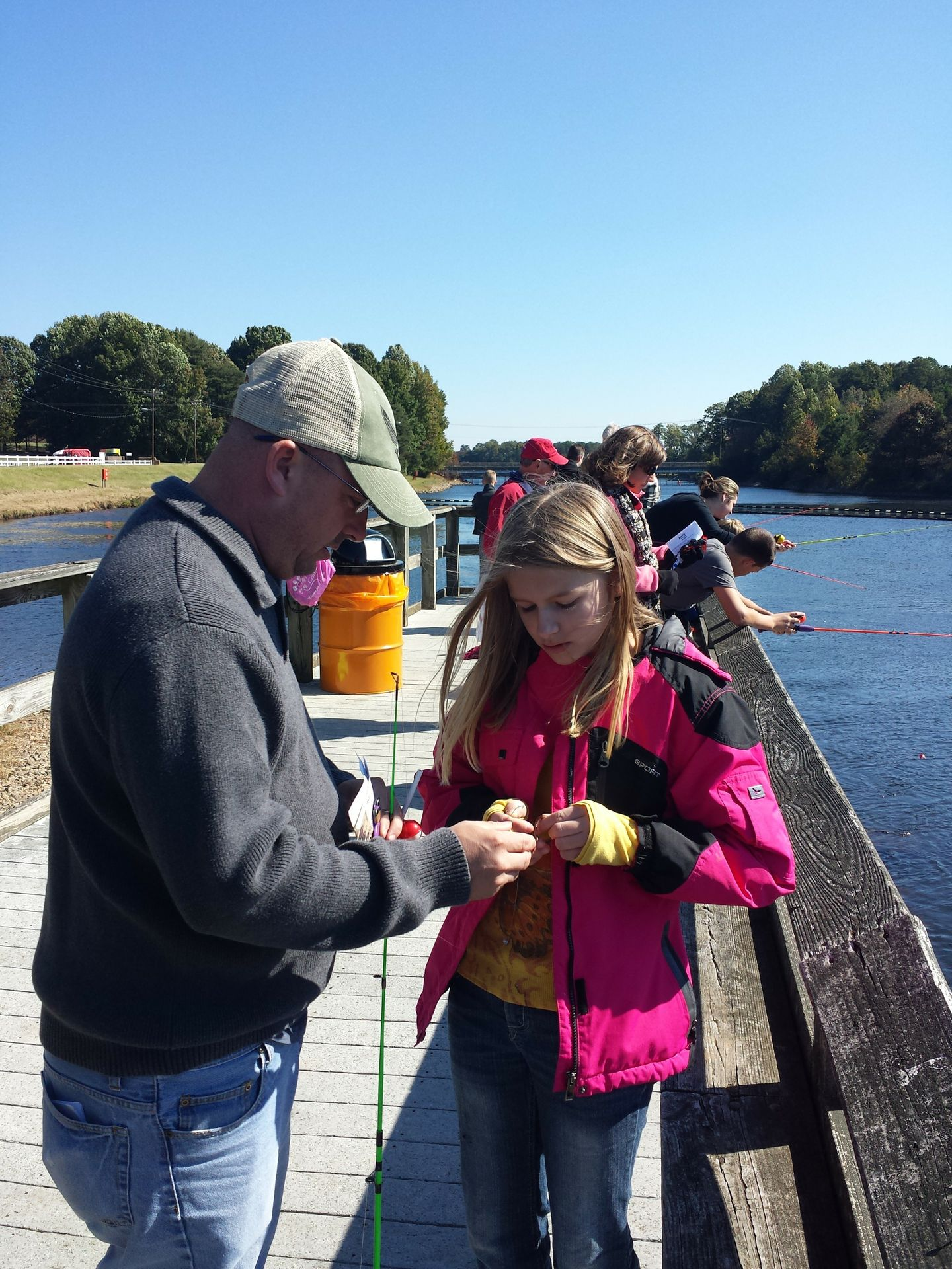 Family fishing at the EnergyExplorium
