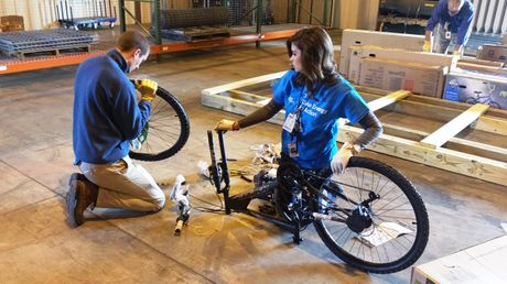 Catawba Nuclear Station employees assemble bikes for local children
