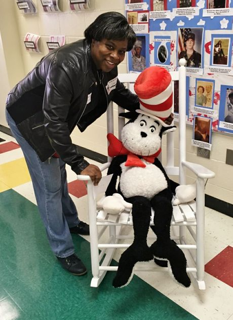 "Regina Mitchell volunteering during ""Read Across America"""
