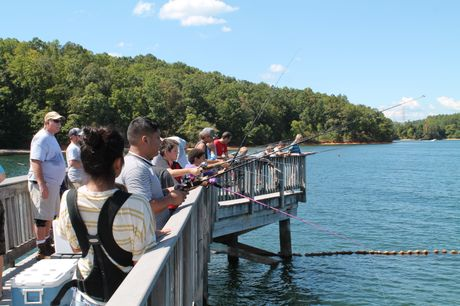 The fishing pier at Oconee Nuclear Station's World of Energy is a popular spot for families.