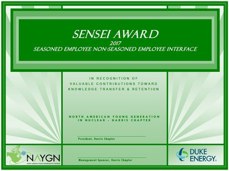 SENSEI award certificate