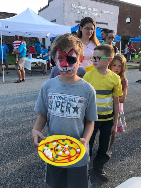 Making atoms with candy at Duke Energy Night in Walhalla, S.C.