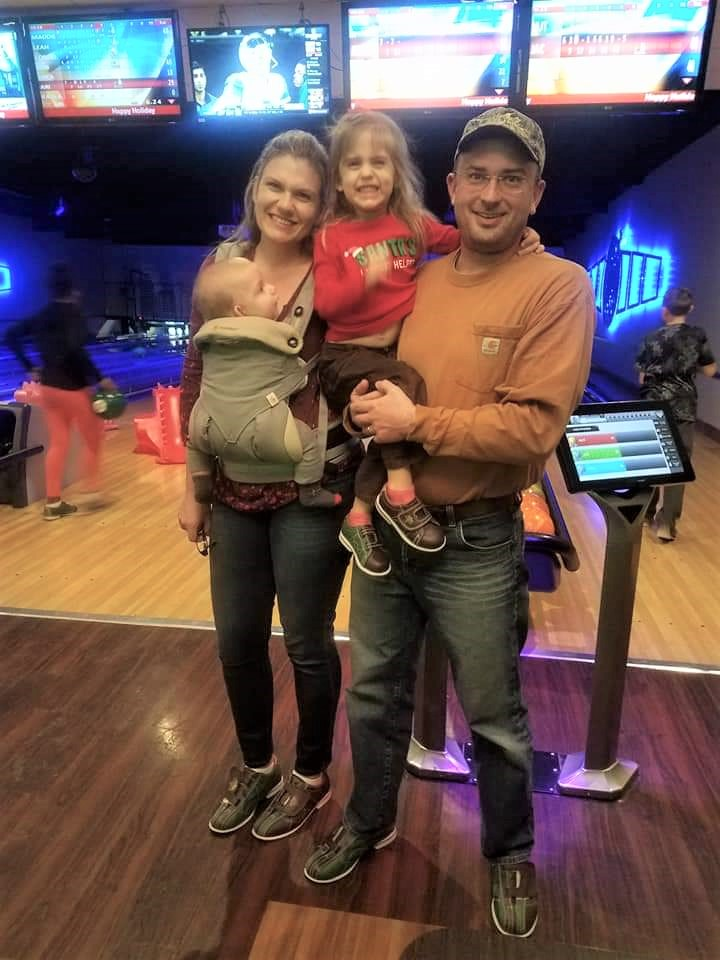 Stacey Hamm enjoying a night of bowling with her family