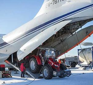 MF 5610 polar tractor lands in Antarctica... and Happy Birthday Massey Ferguson!