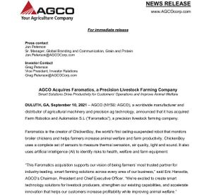 AGCO Acquires Faromatics