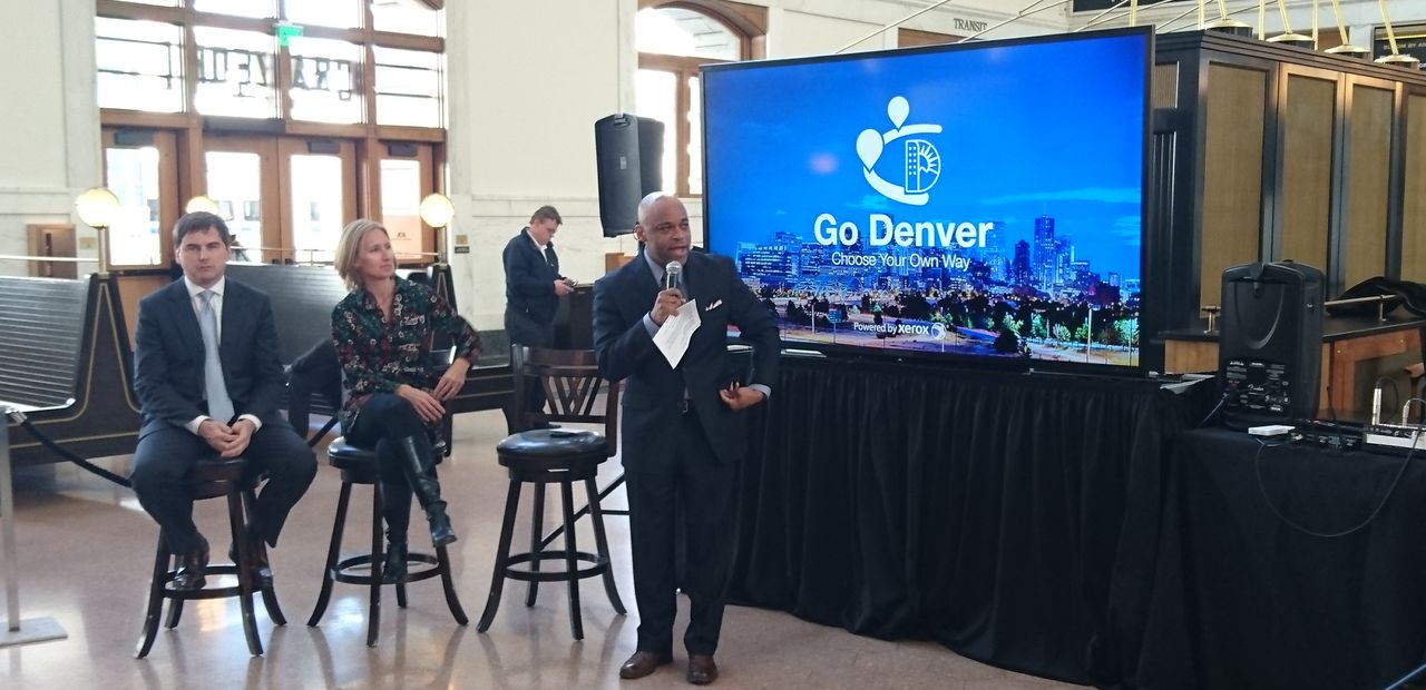 Press conference launching new Go Denver mobility app by Xerox