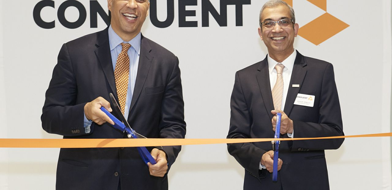 U.S. Senator Cory Booker and Conduent CEO Ashok Vemuri