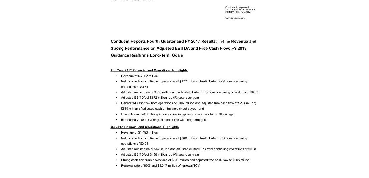 CNDT Q4 2017 Press Release Final