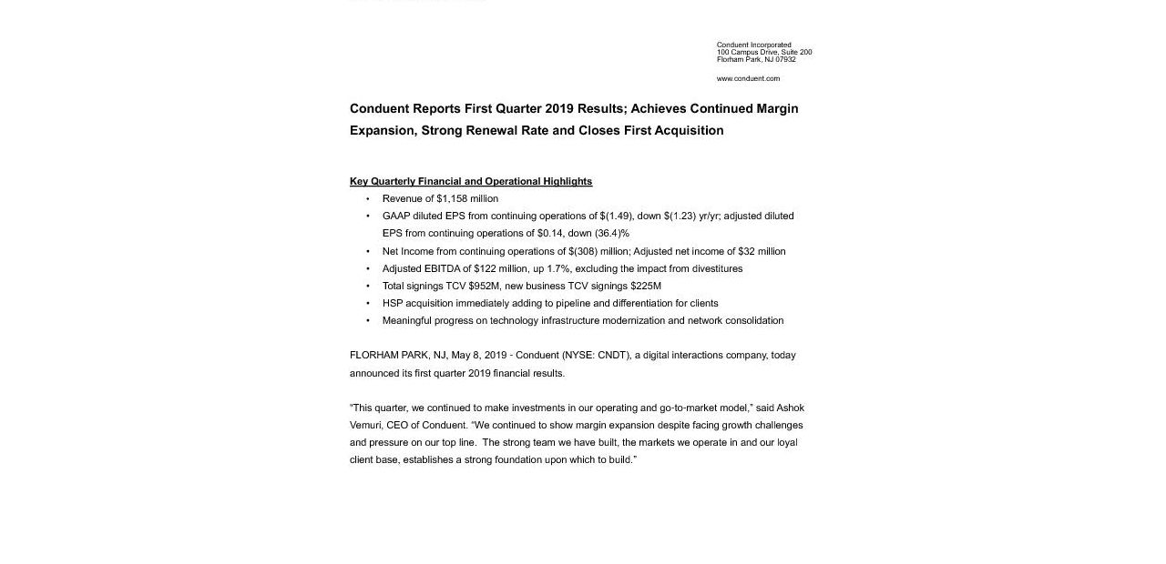 CNDT Q1-2019 Earnings Press Release