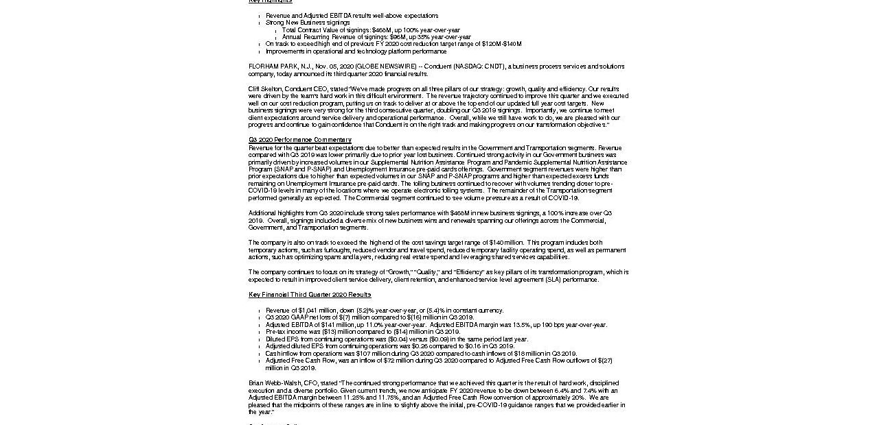 CNDT Q3 2020 News Release