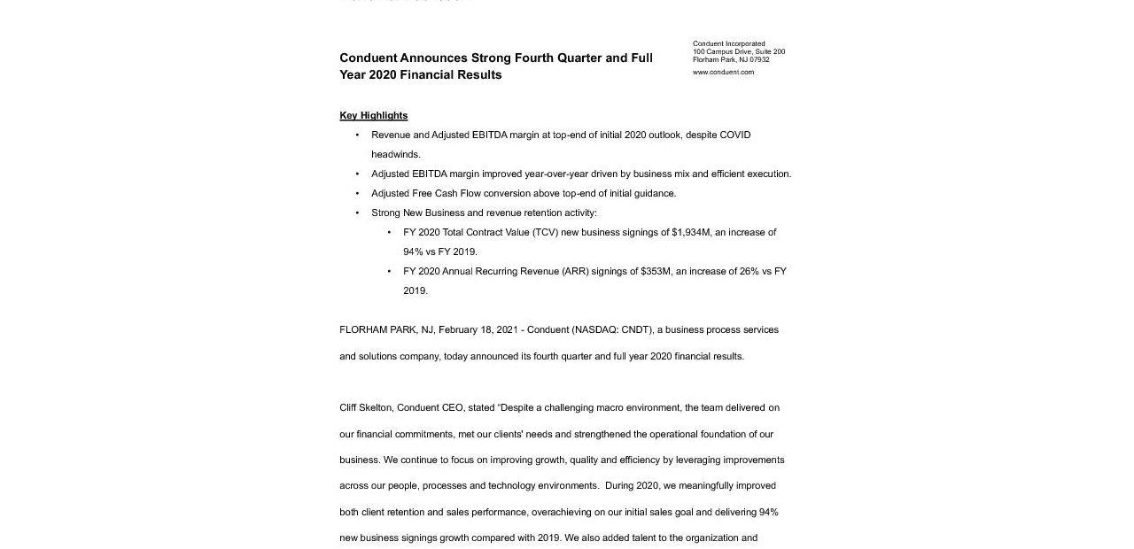 20210218 CNDT Q4 2020 Results Press Release