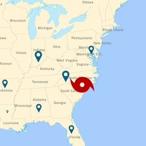 Areas from where crews have traveled to assist with power restoration in the Carolinas.