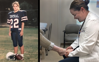 Dr. Snow Daws got her game on as a high school football team kicker
