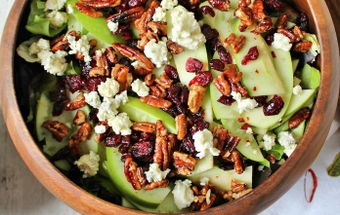 Apple, blue cheese, and pecan salad