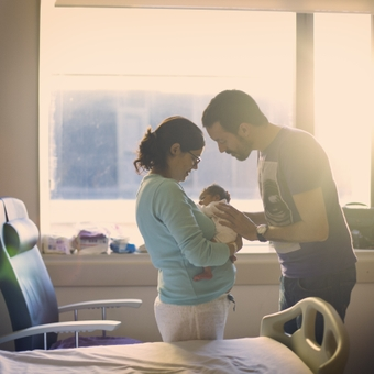 Parents with newborn at hospital