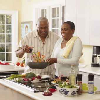 African couple preparing healthy meal