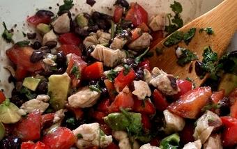 Chicken, avocado and black bean salad