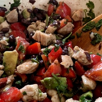 Chicken, avocado and black bean salad
