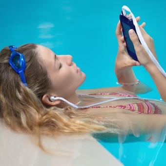 swimmer with headphones