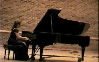 Andrea Herath at a college music recital in 1998