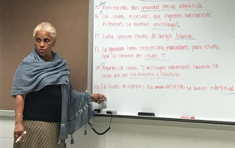 Milagros Amaro teaching at Forsyth Technical Community College