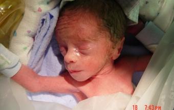 Kadin Martin a few hours after he was born.