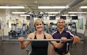 Tricia Thomas with Matt Fortune a sports performance trainer at Novant Health.