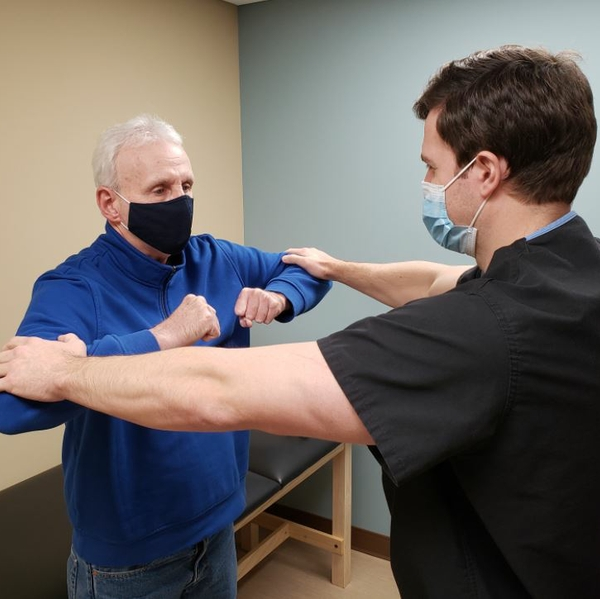 Neck reconstruction patient Dean Spicer with Dr Chase Bennett