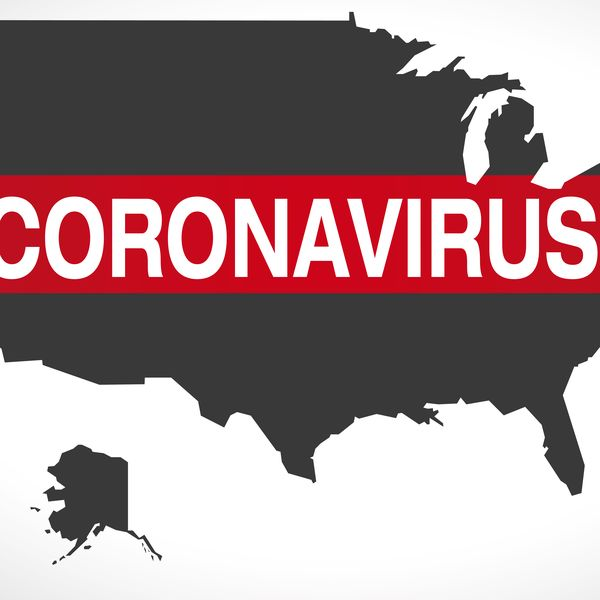 USA map with Coronavirus Covid-19 warning symbol