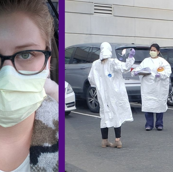 Kate in mask and doctors