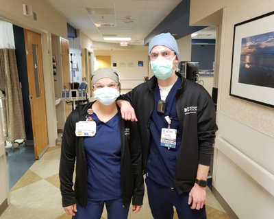 Jessica Walls RN and Zach Matthews RN work in the ICU at Novant Health Forsyth Medical Center