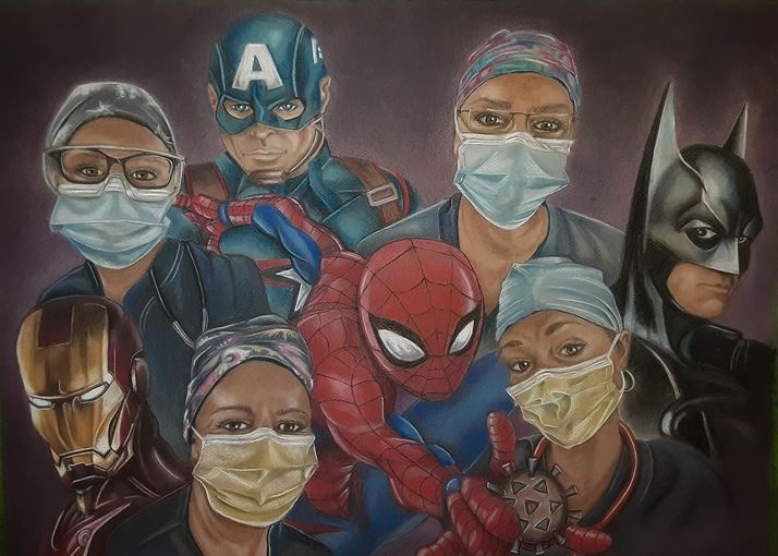 "Behounek is in the top left of this painting, ""Unsung Heroes,"" painted by one of her fellow team members, Janine Rosenberg."