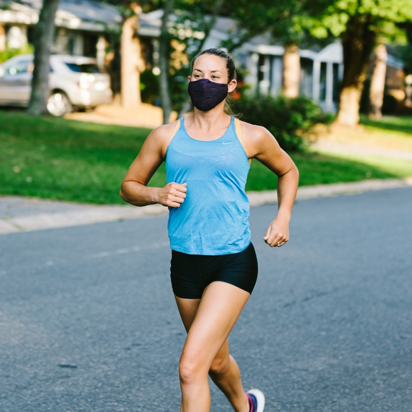 Katie Toussaint running with mask 2