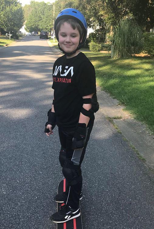 Patrick Leon enjoys a day of skateboarding.