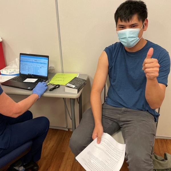 Jim Fan. Young vax patient