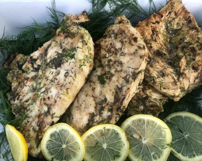 Lemon and herb grilled chicken breasts:  Healthy, tasty, easy.