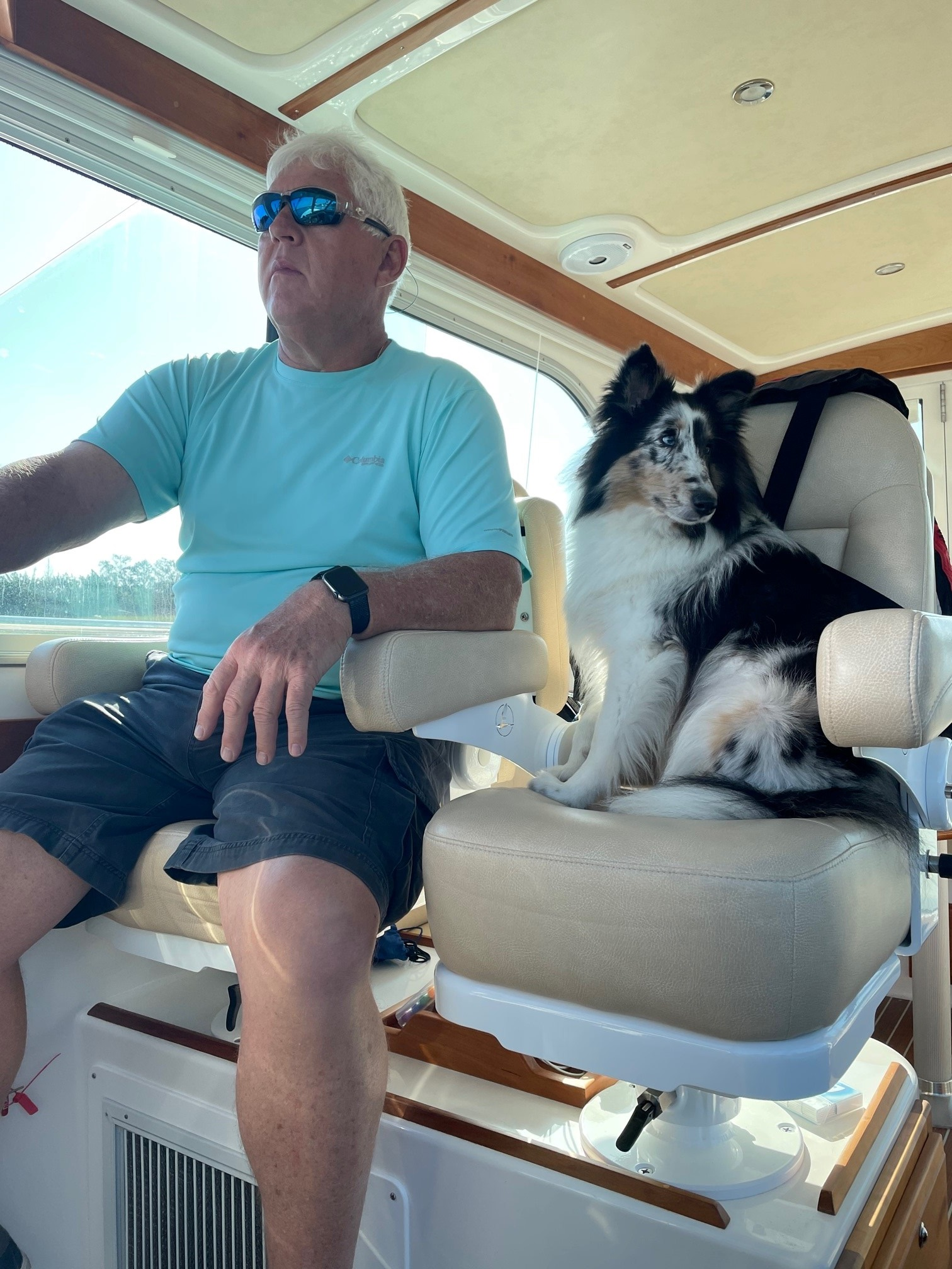 Frank Pope, 65, enjoys a day on the boat in Sunset Beach, North Carolina.