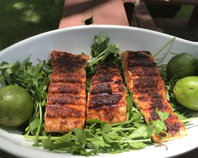 Grilled sweet and spicy salmon: Low in fat, high in taste