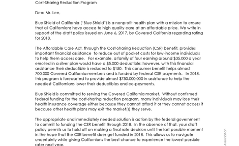 Letter to Covered California