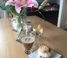 Cecilia Sun - espresso martini and vanilla martini with ice cream sandwich