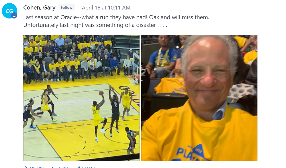 Gary Cohen at Oracle Arena watching Warriors