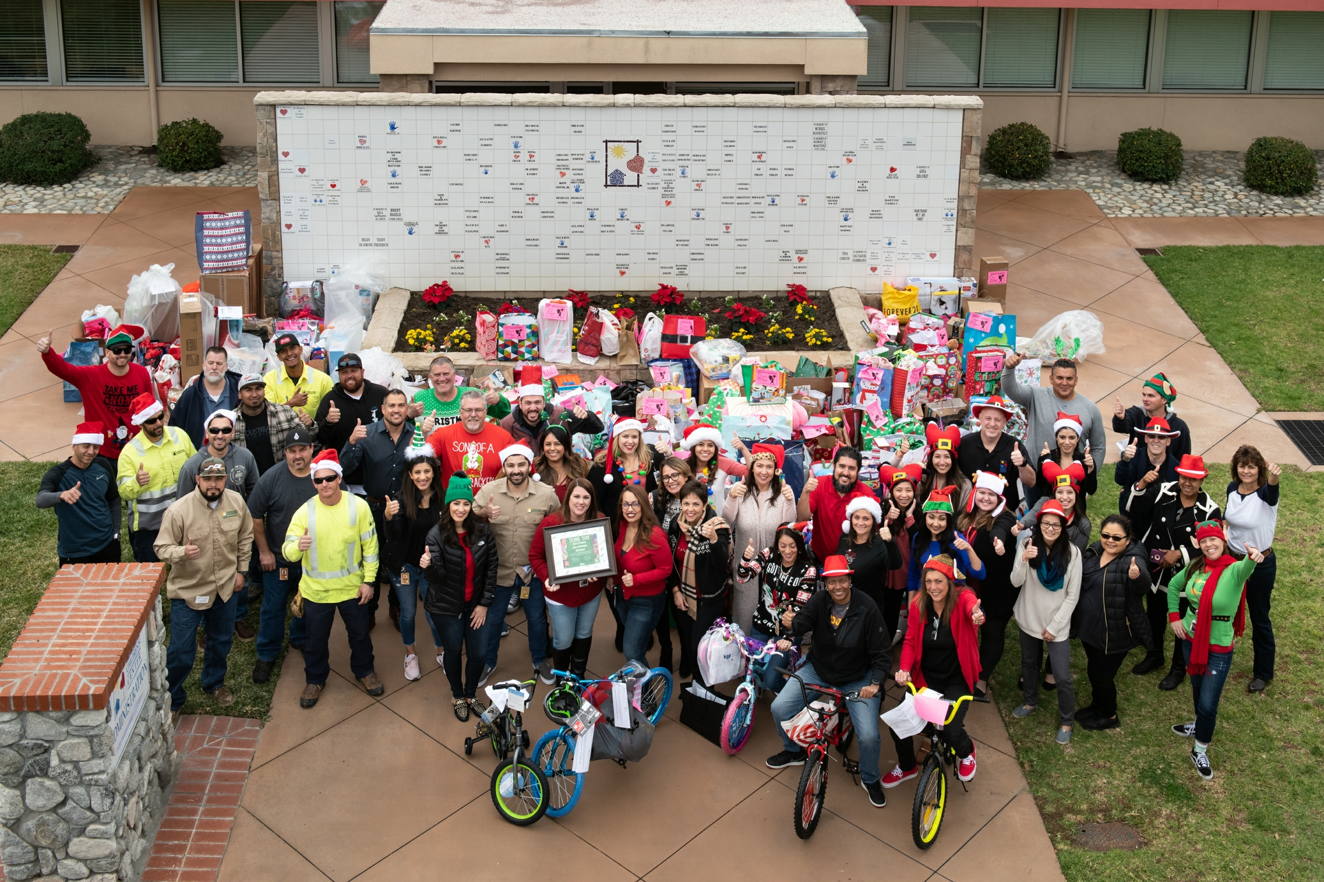 SCE employees in Pomona and Covina donate Christmas gifts for 326 foster children at McKinley Children's Center.